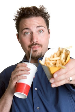 Man eating fast food